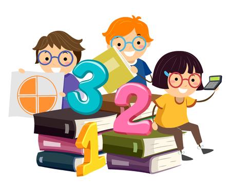 Illustratie van Stickman Kids Zittend op Math Boeken Holding Pie Grafiek en Calculator