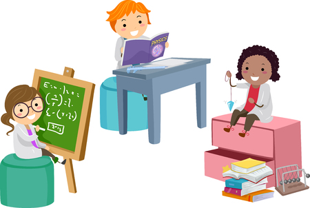 Illustration of Stickman Kids Solving a Problem on Blackboard, Reading a Book and Sitting on a Shelf