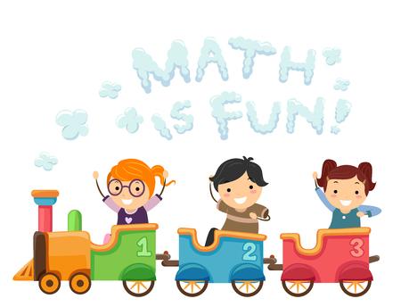 Illustration of Stickman Kids Riding a Math Train with a Math is Fun Smoke