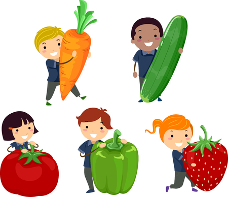 Illustration of Stickman Kids Holding a Carrot, Zucchini, Tomato, Bell Pepper and Strawberry
