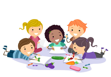 Illustration of Stickman Kids Making Art About Vegetables on the Floor