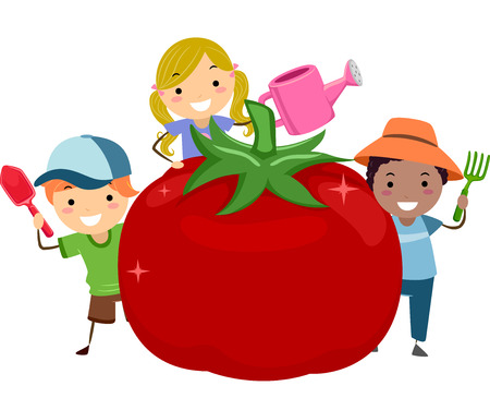 Illustration of Stickman Kids with a Big Red Tomato Holding a Shovel, Garden Fork and Watering Can