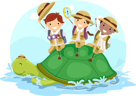 Illustration of Stickman Kids in Explorer Costume Waving while Riding on a Turtle