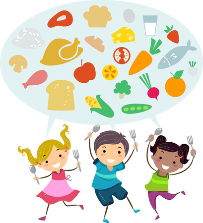 about: Illustration of Stickman Kids Holding Spoon and Fork While Talking About Healthy Foods Stock Photo