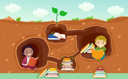 Illustration of Stickman Kids Reading Books in an Underground Wall Decals of a Library Stock Photo