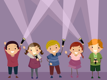 Illustration of Stickman Kids Holding Flash Lights in a Dark Room Ready for a Game