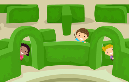 Illustration of Stickman Kids Playing and Peeking from Inside a Garden Maze