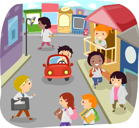 Illustration of Stickman Kids in Lab Gowns Walking in a Fantasy Science World