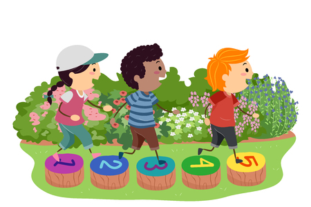 Illustratie van Stickman Kids Hopping over Stepping Stones in the Garden Painted with Numbers Stockfoto
