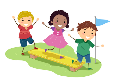 Illustration of Stickman Kids Balancing on a Wooden Plank in an Obstacle Course Stock Photo