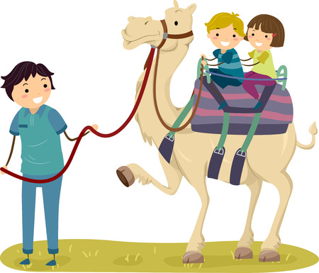 Illustration of Stickman Kids Riding a Camel Guided by a Tour Staff