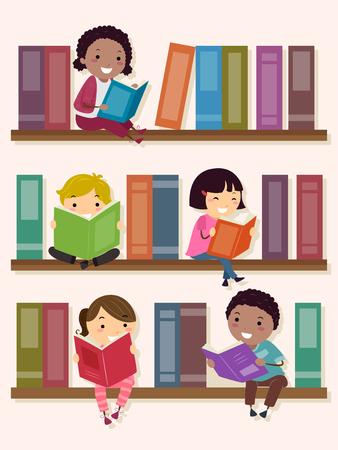 Illustratie van Stickman-kinderen zitten en lezen in de schoolbibliotheek