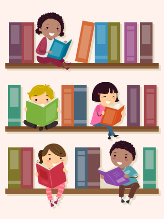 Illustration of Stickman Kids Sitting and Reading in the School Library