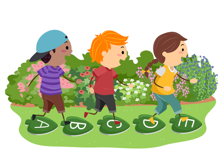 Illustration of Stickman Kids Hopping over Stepping Stones with Letters and Leaf Design Stock Photo