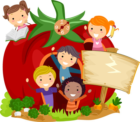 Illustration of Stickman Kids Popping from a Fantasy Tomato School Building