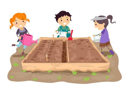 De ilustraciones - stickman, niños, siembra, semillas, derecho, fila, jardín, cama Foto de archivo - 81936875