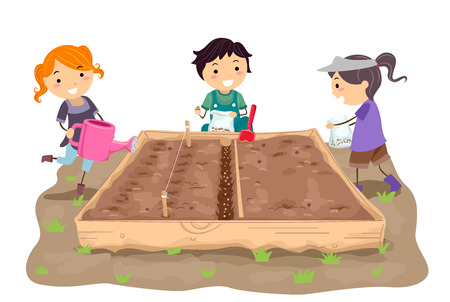 Illustration of Stickman Kids Sowing Seeds in a Straight Row in their Garden Bed