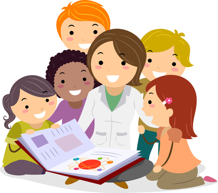 Illustration of a Stickman Teacher with Kids Reading a Science Book in Class