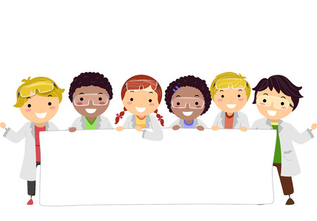 Illustration of Stickman Kids Wearing Lab Gowns and Goggles Holding a Blank Banner