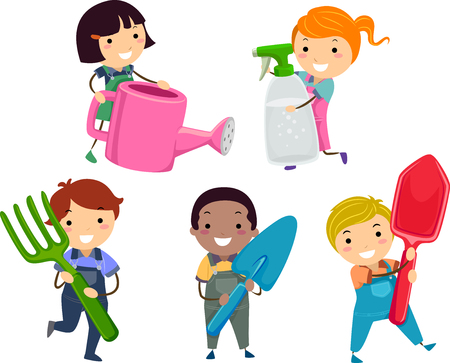 small tools: Illustration of Stickman Kids Holding a Watering Can, Spray Bottle, Fork, Spade and Shovel
