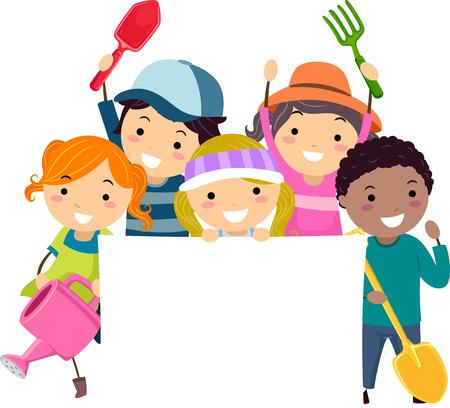 Illustration of Stickman Kids Holding a Watering Can, Fork, Shovel, Spade and a Blank Board Reklamní fotografie