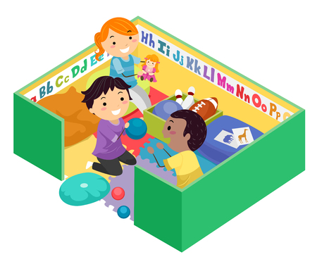 Illustration of Stickman Kids Playing with Toys inside a Green Play Pen Stock fotó