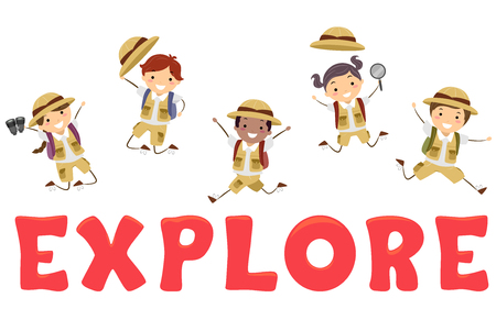 Illustration of Stickman Kids in Safari Costume Jumping Over the Word Explore