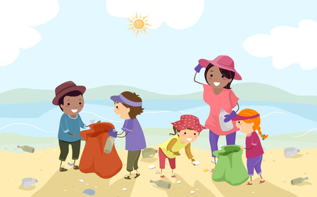 Illustration of Stickman Kids with Their Teacher Doing Coastal Clean Up