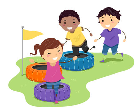 Illustration of Stickman Kids Running and Playing in a Tire Obstacle Course 스톡 콘텐츠