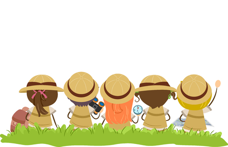 Illustration of Stickman Kids in Explorer Costume Sitting on the Grass Outdoors