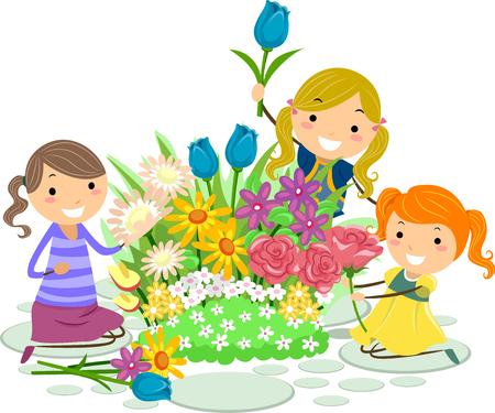 庭で新鮮な花を摘んでバッター子供女の子のイラスト
