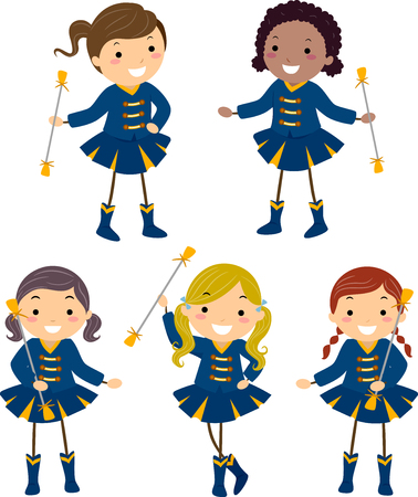 Illustration of Stickman Kids in Majorette Uniforms in Different Poses Stock Photo
