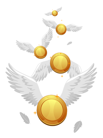dime: Concept Illustration of Coins with White Wings Flying. Financial Freedom Concept