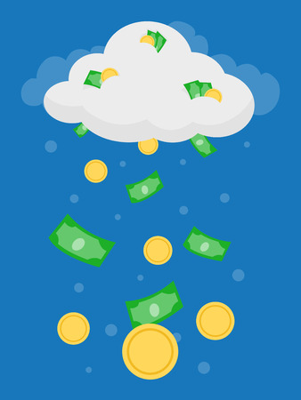 Concept Illustration of Coins and Bills Dropping Down from a Money Cloud Stock Photo