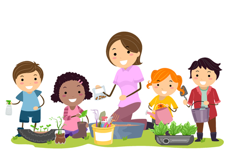 Illustration of Stickman Kids and Teacher Recycling Things for the Garden 스톡 콘텐츠