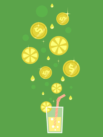 dime: Concept Illustration of Lemons Slices and Coins Dropping Towards Lemonade Drink Stock Photo
