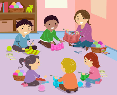 Illustration of Stickman Kids and Teacher in Circle Knitting Towels on the Floor Stock Photo