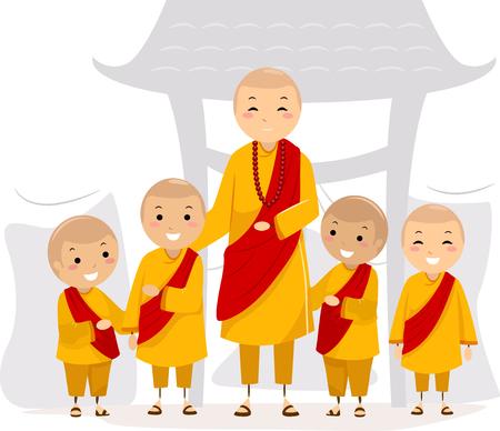 buddhist monk: An Illustration of Stickman Kids with an Adult Man wearing Monk Uniforms Stock Photo