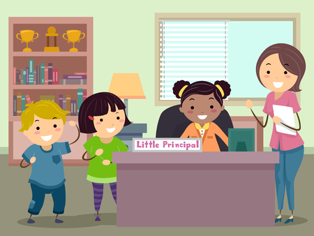 Illustration of Stickman Kids with Teacher and a Classmate as Little Principal