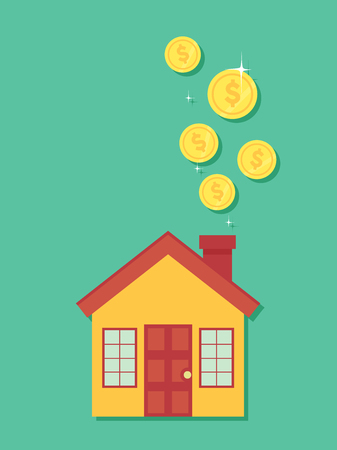 Concept Illustration of Coins Dropping Towards the Chimney of a House. Saving for a House Concept Stock Photo