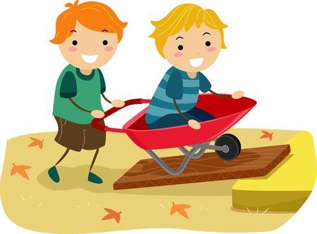Illustration of Stickman Kids Playing with a Wheel Barrow Going up on an Inclined Plane Imagens