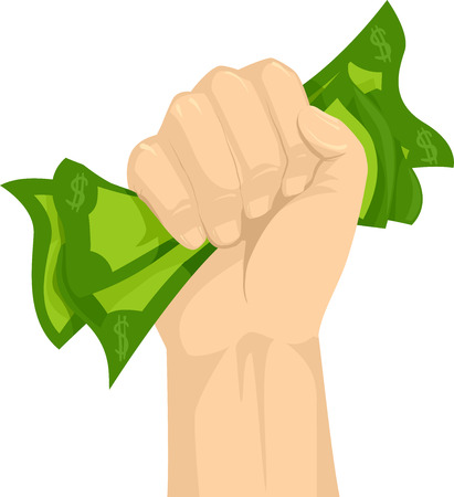 Illustration of a Hand Gripping Money Tight, Concept of Holding on Cash Tight Stock Photo
