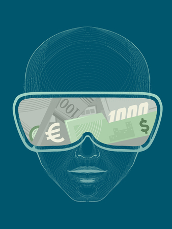 Concept Illustration of a Man Wearing Virtual Reality Goggles with Money Patterns
