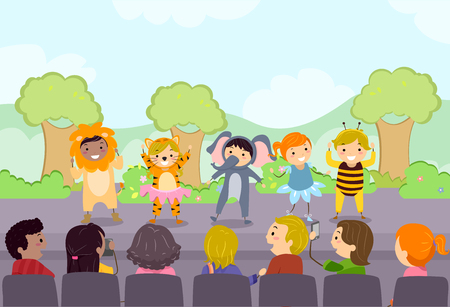 Illustration of Stickman Kids Performing on Stage in front of their Parents
