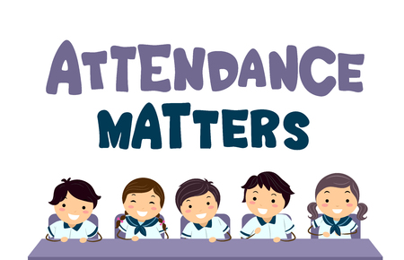 Illustration of Stickman Asian Kid Students in Uniform Sitting on Chairs with Attendance Matters Lettering