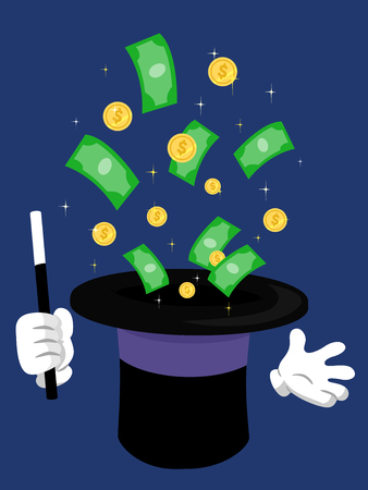 Illustration of Bills and Coins Popping Out of a Magician Hat