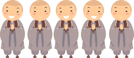 Illustration of Stickman Kids Buddhist Monks in Uniform with Hands Joined Together Stock Photo
