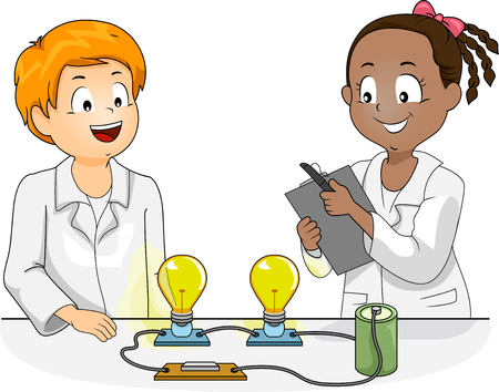 Illustration of Kids Conducting a Science Experiment with Light Bulbs and Battery
