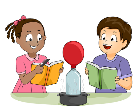 Illustration of Kids Watching a Balloon Inflate as part of their Chemistry Experiment