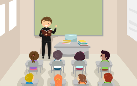 Illustration of a Priest Teaching about the Bible to Students in a Classroom Stock Photo